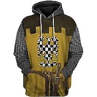 YesCoser 3D Bedrukte Trui Hoodie Hooded Sweatshirt voor Historische Figuur Middeleeuwse Knight Cosplay Kostuum