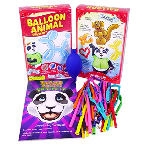 Balloon Animal University Kit NOW with even more creations! 25 Balloons Custom Colors with Qualatex, Unbreakable Air Pump, Instruction Book and Videos. Learn to Make Balloon Animals Starter Kit -