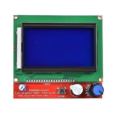 kingprint LCD 12864 Graphic Smart pantalla controlador con adaptador y cable para 3d impresora rampas 1,4 RepRap 3d impresora Mendel Prusa Arduino: Amazon.es: Industria, empresas y ciencia