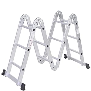 Safeplus Aluminum Lightweight Multi Task Ladder, 3.3ft Multi Purpose Folding Scaffold Ladder, 12.5ft Multi-Purpose Extension Work Step Ladder-Max Weight 330 lbs