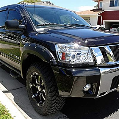 For Nissan Titan Armanda Chrome Clear Dual Halo Projector LED Headlights Front Lamps Replacement Pair: Automotive
