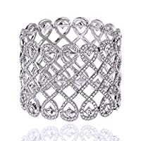 Women's Crystal Art Deco Elastic Rhombus Hollow Stretch Bracelet for Women Prom Wedding Party M&M Jewelry minmin
