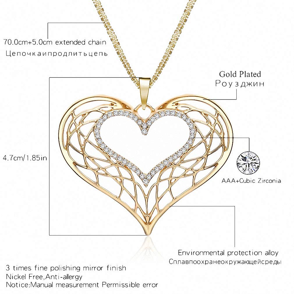 Womens Pendant Necklace New Hollow Love Heart Pendant Necklaces for Women Sweater CZ Crystal Long Chains Wedding Engagement Female Jewelry