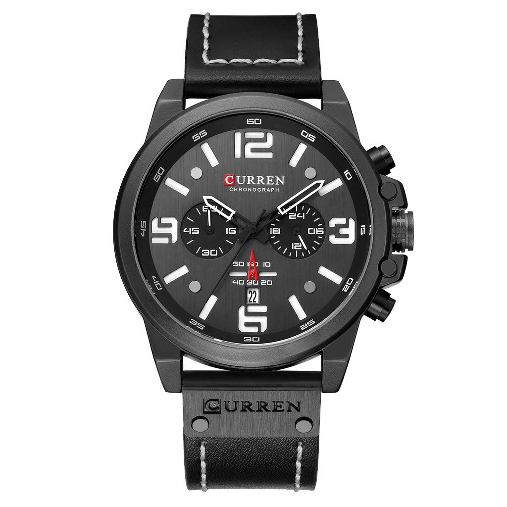 LUXISDE Men's Watches Wrist Watch Mens Watches Sport Waterproof Calendar Leather Chronograph Quartz Watch 10 by LUXISDE (Image #1)