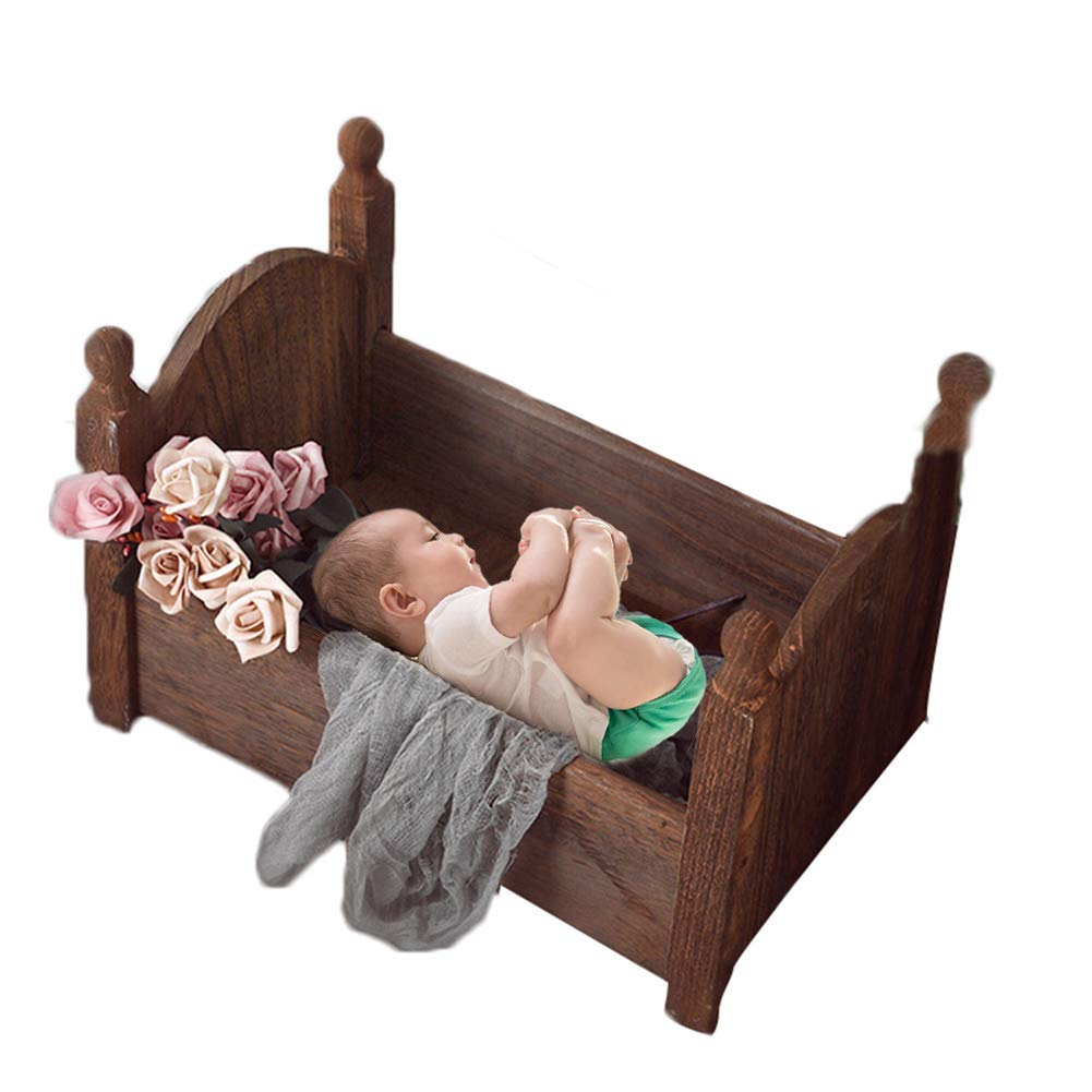 Enjoyment Newborn Photography Props DIY Newborn Photography Wrap Small Wooden Bed Newborn Props Bed Posing Baby Photography Props Cot Baby Photo Studio Props (Coffee#1) by Enjoyment