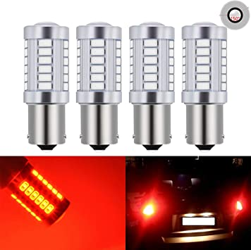 4pcs White LED 1156PY BAU15S PY21W 33SMD 5630 Turn Signal Light Rear Tail Lamps