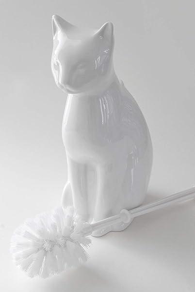 Allure Home Creations Ceramic Cat Bowl Toilet Brush Holder-Chrome-Brush Included