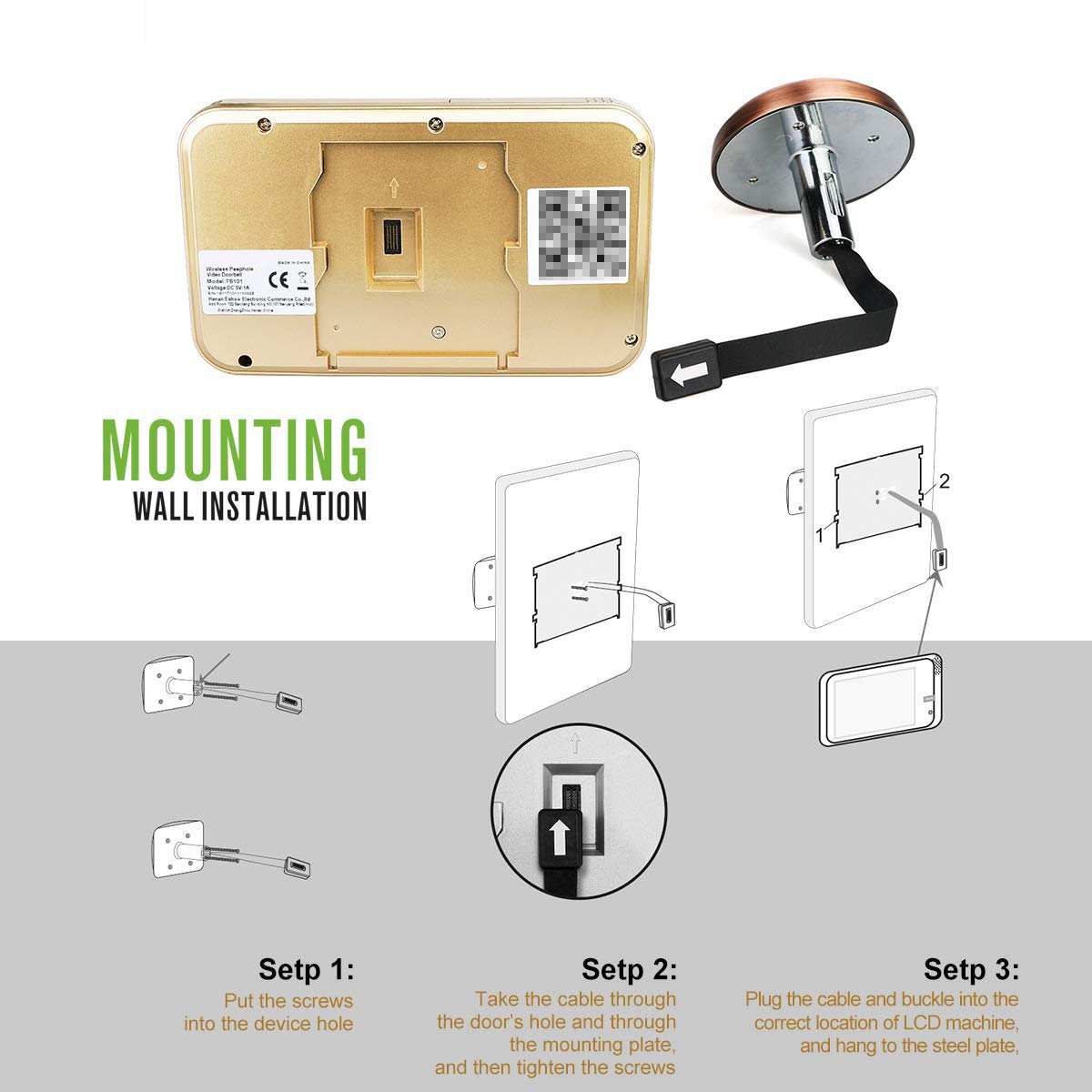 Wireless Digital Door Viewer & Video Doorbell WiFi Peephole Camera Night Vision Motion Detection Security Monitor 120° Wide Angle Lens Viewing for Front Door by Fxwj (Image #7)