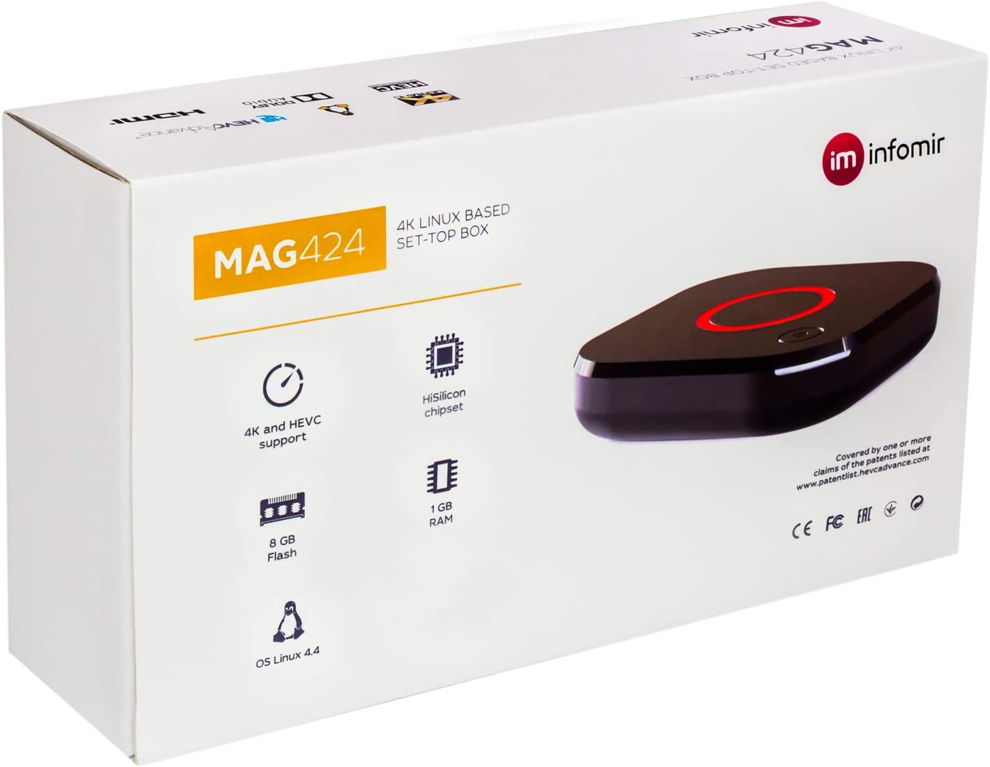MAG 424 Original Infomir & HB-DIGITAL 4K IPTV Set Top Box Multimedia Player Internet TV IP Receptor # 4K UHD 60FPS 2160p@60 FPS HDMI 2.0 # HEVC H.256 Soportes # ARM Cortex-A53: