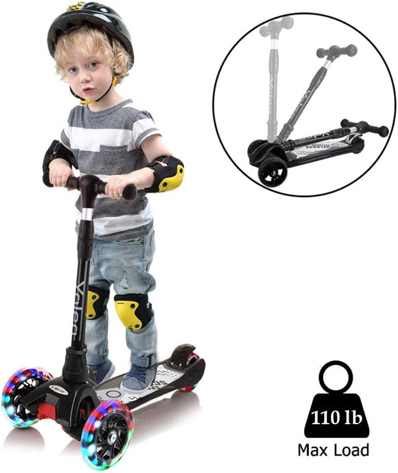 Yoleo Scooter for Kids Kick Scooters 3 Wheels Toddler Scooters Adjustable Height Scooter Lean to Steer with PU Flashing Wheels Wide Deck Scooters for Boys Girls Children from 3 to 9 Year Old