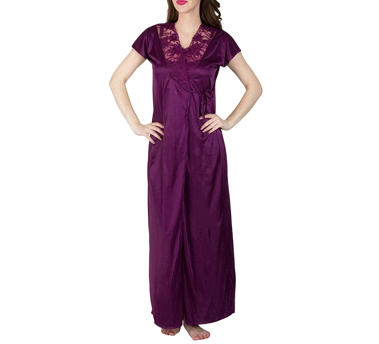 cfb802a4b5 BOMBSHELL Women s Satin Nightwear Night Dress Nighty Set of 4 Pcs Nighty