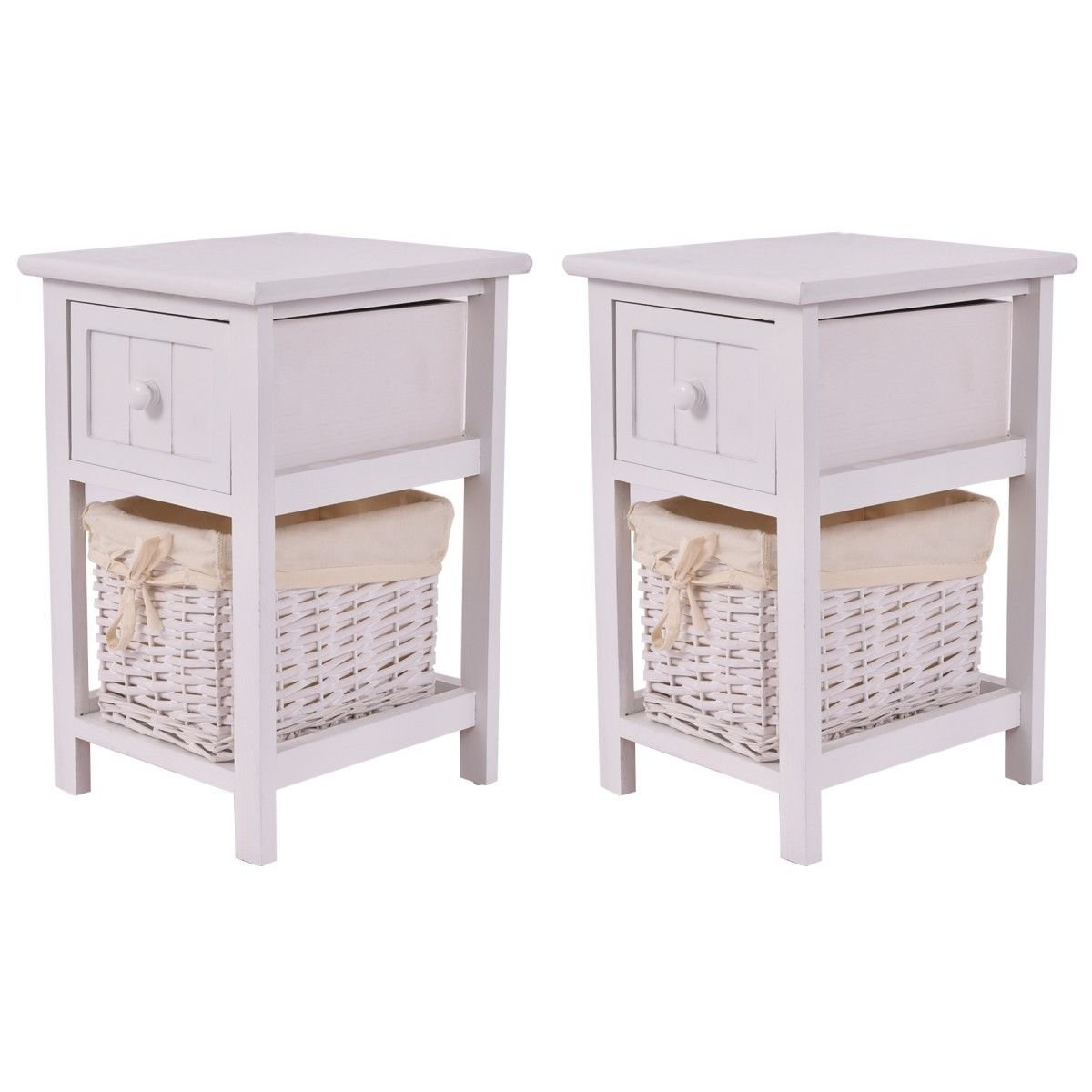 Giantex Set of 2 Mini Night Stand 2 Layer 1 Drawer Bedside End Table Organizer Wood W/Basket