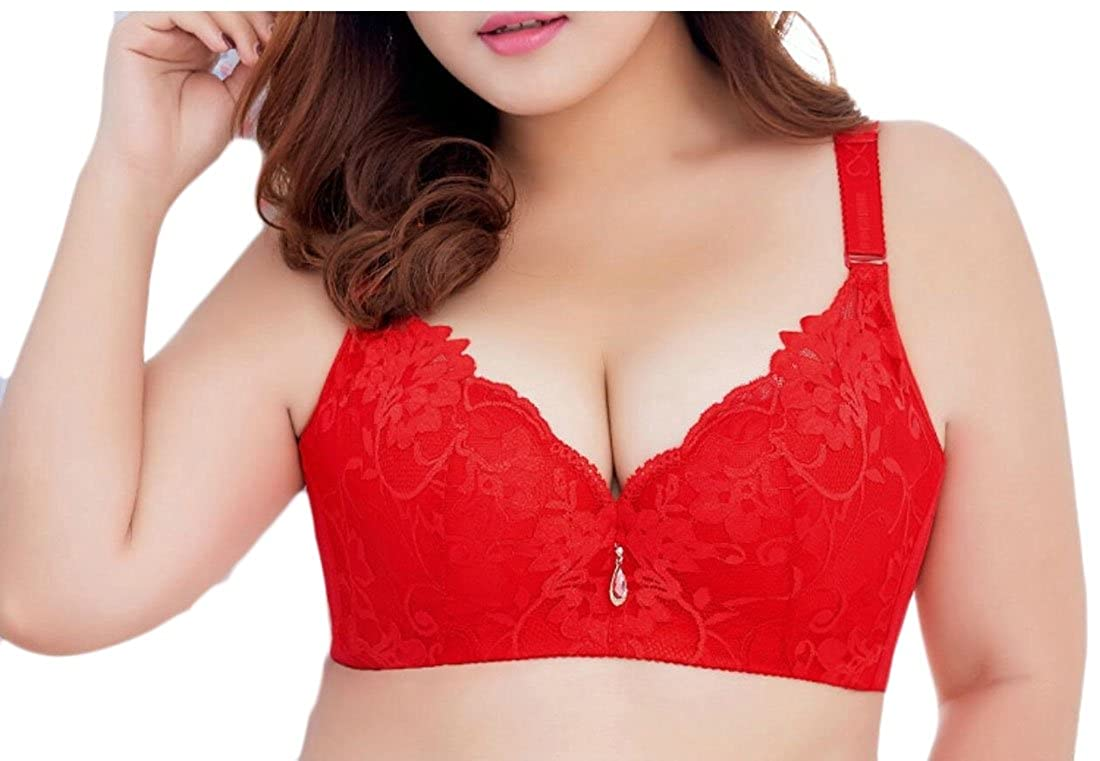 52efce6c29 WSPLYSPJY Women Underwire Push-up Bra Plus Size Floral Lace Soft Cup Bra 4  36D at Amazon Women s Clothing store