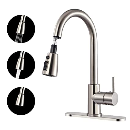 Teccpo Kitchen Faucet 3 Spray Modes Single Handle High Arc Brushed Nickel Faucet With Pull Down Sprayer 360 Swivel Safety Materials Refined Copper