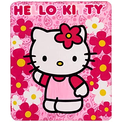 Hello Kitty Sanrio Plush Throw Blanket : Flower: Kitchen & Dining