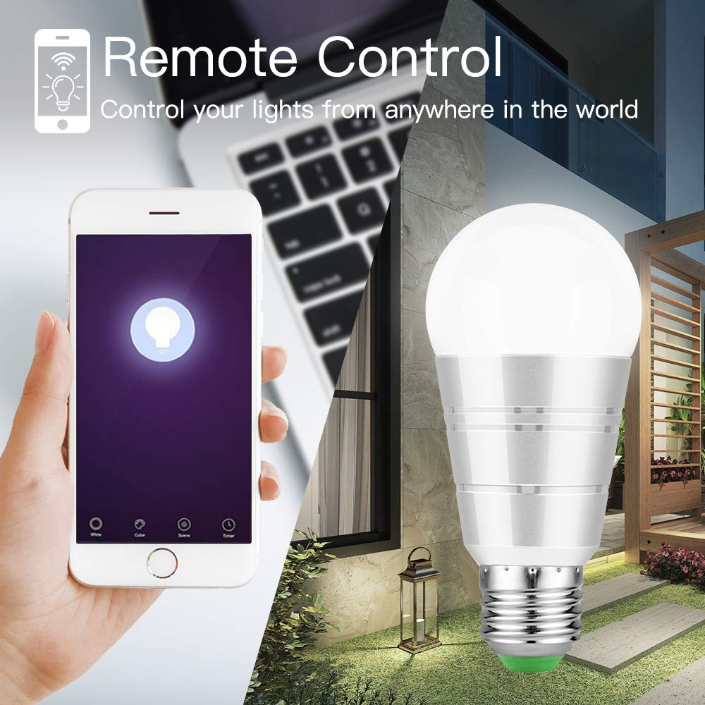 WiFi Smart Bulb, Remote Control by Smart Phones, Voice Control by Amazon Alexa & Google Home, Colour Dimmable LED Light, E27 Screw Edison 60W Equivalent Bulb, No Hub Require (Daylight White 7W 6000K)