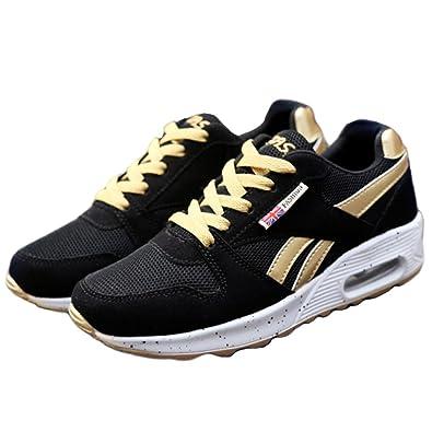 1872852f7985fa Amazon | ウォーキングシューズ スポーツシューズ スニーカー ランニング エアソール 歩行姿勢調整 矯正靴 ダイエット レディース(ゴールド/25)  | ランニング