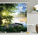 Ambesonne House Decor Shower Curtain Set, Fishing Pier by River in The Morning Light with Clouds and Trees Nature Image Decor, Bathroom Accessories, 75 inches Long, Green Blue White