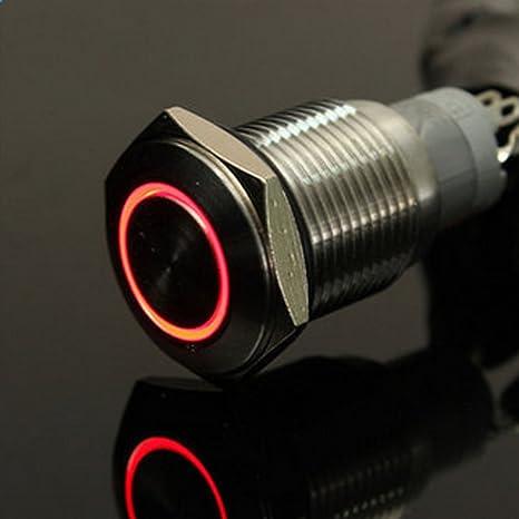 Matedepreso 1 Pezzo 12V Metallo Interruttore a Pulsante Momentaneo con Luce LED Angel Eye Auto Bottone da Premere Interruttore 16mm Rosso Rosso