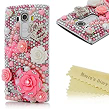 LG G4 Case - Mavis's Diary® 3D Handmade Luxury Bling Crystal Lovely Pink Flowers with Cute Bow Shiny Crown Sparkle Diamonds Rhinestone Clear Case Hard PC Cover For LG G4 (2015)
