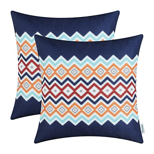 CaliTime Pack of 2 Soft Canvas Throw Pillow Covers Cases for Couch Sofa Home Decor Bohemian Style Colorful Zigzag Striped Geometric 18 X 18 Inches Navy Blue ()