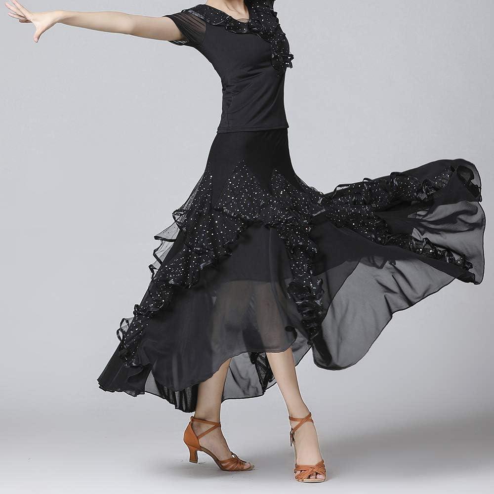 YM YOUMU Women Waltz Skirt Latin Salsa Flamenco Modern Ballroom Dance Tango Dress