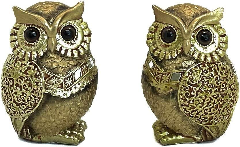 Gold Owl Figurines Bookshelf Decorations - Owl Decorations for Home - Owl Statue - Decorative Accents for Living Room , Owl Gift for Owl Lovers Shelf Decorations Gold Decor Accents Small Decor Items