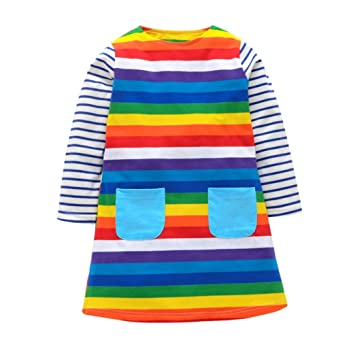 f3c597fb1 Janly® Girls Rainbow Striped Dress for 1-6 Years Kids Pockets Long ...