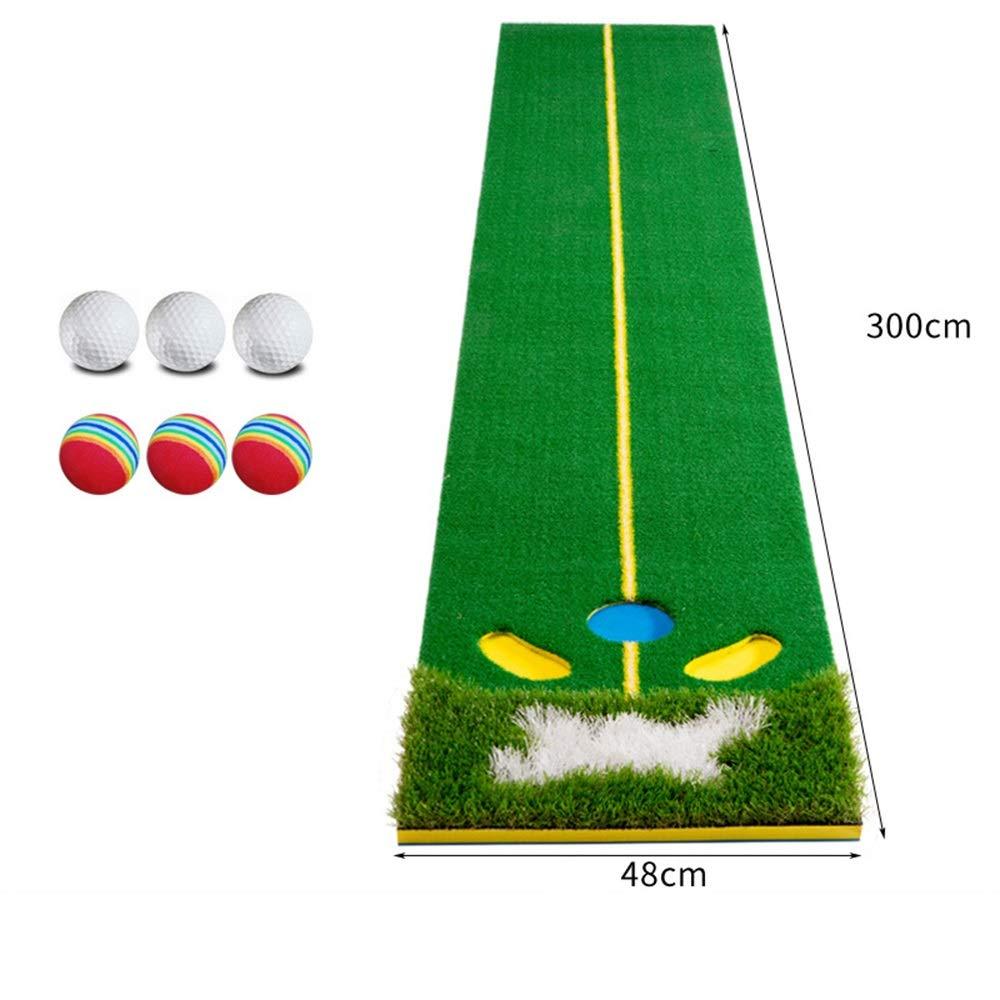 パター練習用マット 屋内および屋外のためのパターゴルフボールが付いている専門の大きいゴルフパッティンググリーンのマットの人工的な草のゴルフ訓練の援助装置のマット 裏面滑り止め (色 : 緑, サイズ : Accessories) Accessories 緑 B07TB67KTC