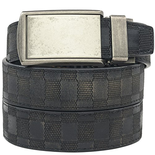 [SlideBelts Men's Animal-Friendly Leather Belt without Holes - Graphite Buckle / Distressed Checkered Leather (Trim-to-fit: Up to 48