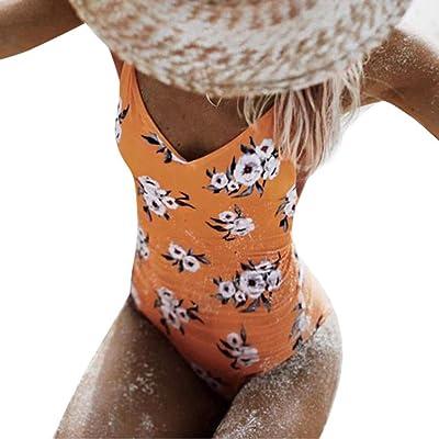 JIANGfuWomens One Piece Monokini Maillots de bain Bikini Beach Maillot de bain Rembourré Beachwear,Push Up Dos Nu Halter Grande Taille Beachwear Elegant Amincissant Plage (L, blanc)