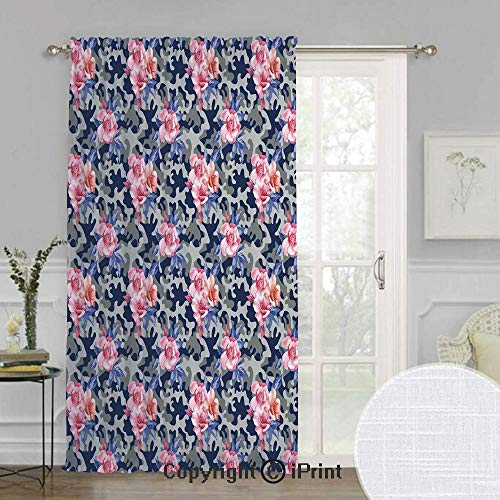 (Camo Extra Wide Chiffon Sheer curtain,Victorian Theme Pink Retro Design Roses Urban Fashion Nature Feminine,for Large Window/Sliding Glass Door/Patio Door,100x84inch,Pink Violet Blue Sage Green)