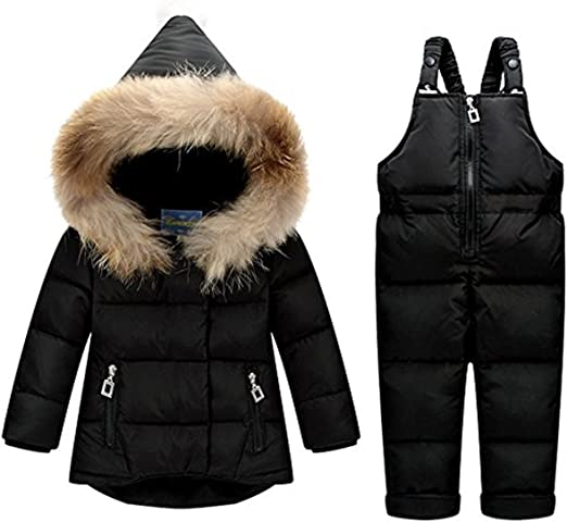 JELEUON Baby Girls Two Piece Winter Warm Hooded Button Fur Trim Snowsuit Puffer Down Jacket with Snow Ski Bib Pants