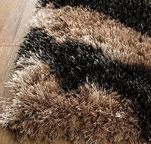 Home Way Premium Quality Black Trellis Diamond Lattice Thick Plush Shag Area Rug 5'3