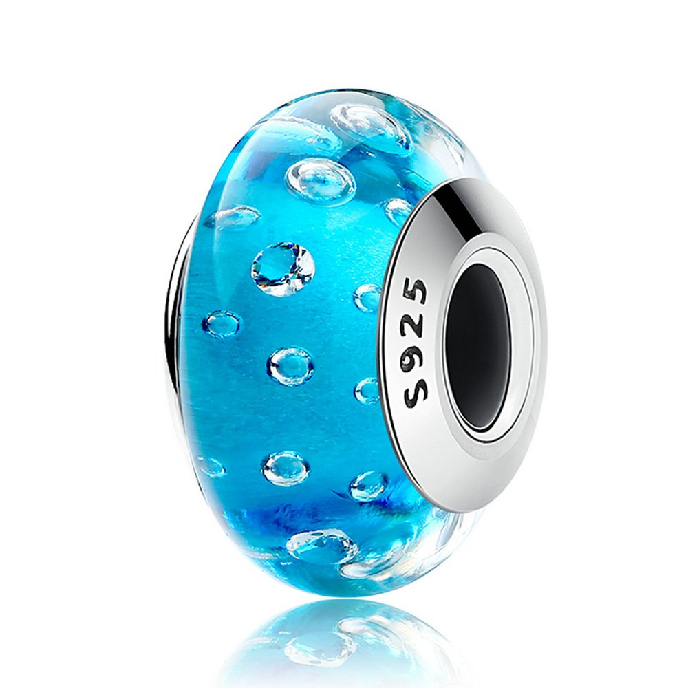 Everbling Murano Glass Bubble 925 Sterling Silver Bead Fits European Charm Bracelet (Ocean Blue)