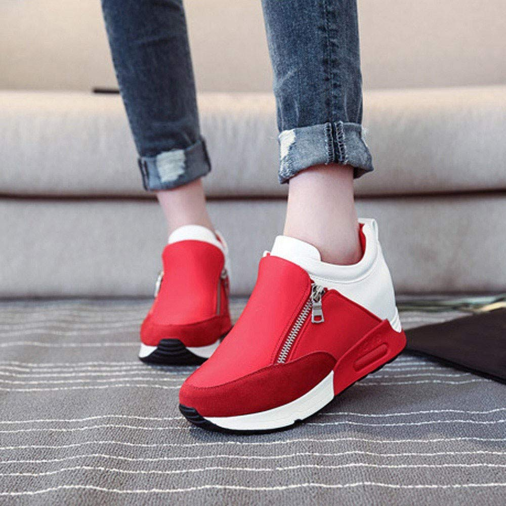Women's Fashion Solid Color Round Head Breathable Sports Shoes Sports Running Climbing Platform Shoes Red by Lloopyting (Image #6)