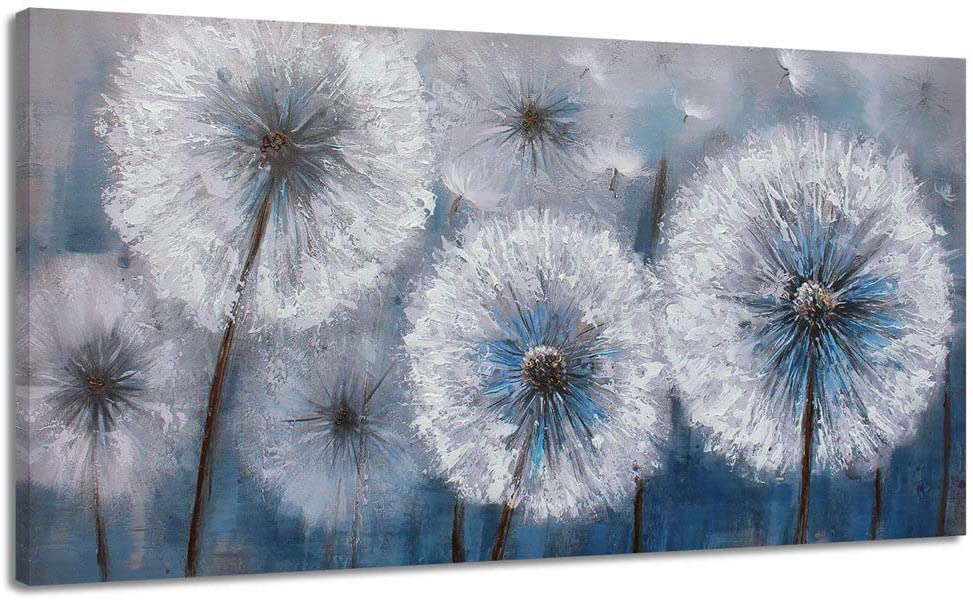 Dandelion Painting Wall Art Canvas Print Picture for Living Room Large White Flower Flora Home Bedroom Decoration Modern Framed Artwork Decor