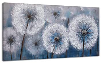 Large Dandelion Painting Wall Art Decor Canvas Print Picture For Living Room White Flower Flora Plant Home Bedroom Decoration Modern Framed Artwork