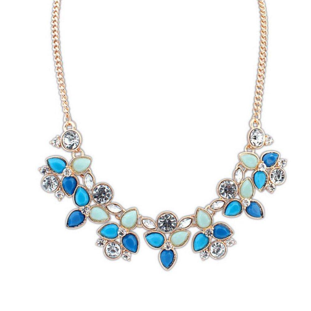 Joyfeel Buy Blumen Form Anhänger Haltbaren Material Kristall Schmuck Design Halskette für Party/Hochzeit/Geschenke-Blau 9