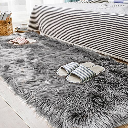 Leather Shag Rug - Carvapet Luxury Soft Faux Sheepskin Fur Area Rugs for Bedside Floor Mat Plush Sofa Cover Seat Pad for Bedroom, 2.3ft x 5ft,Grey