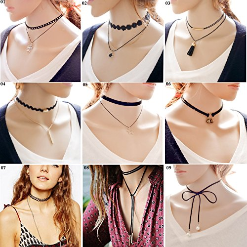 9 PCS Classical Women Girls Gothic Tattoo , Tassel , Black Velvet ,Lace Fashion Choker Necklace- Length Adjustable