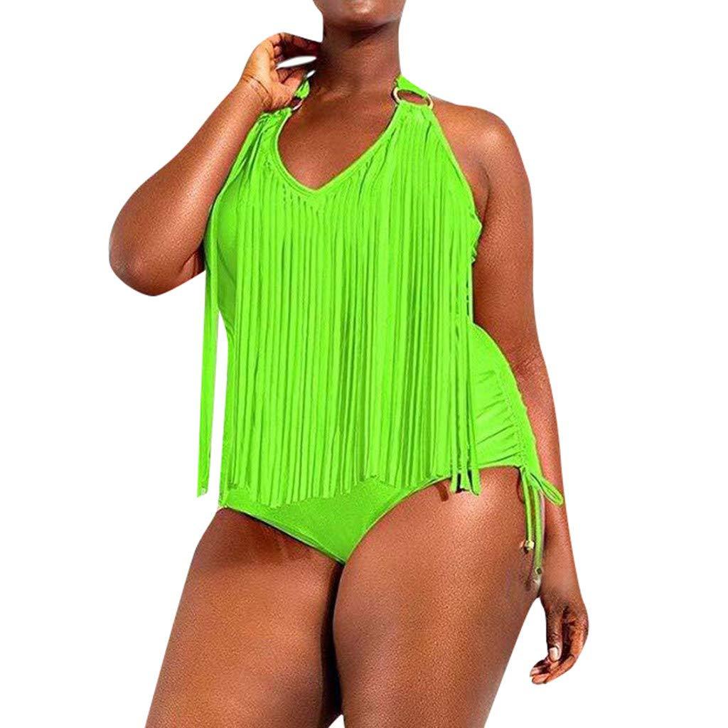 Womens Plus Size Tassel Braided Fringe One Piece Monokini Swimsuits Halter Padded Solid Bikini Set (XXXL, Green) by Womens Bikini Hechun