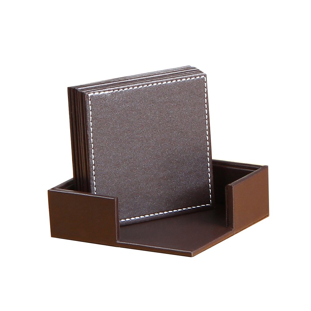 YAPISHI PU Leather Coasters , Table Mats with Holder for Cup Glass Tableware Table Decoration,Set of 6 with Holder (Brown,Square)