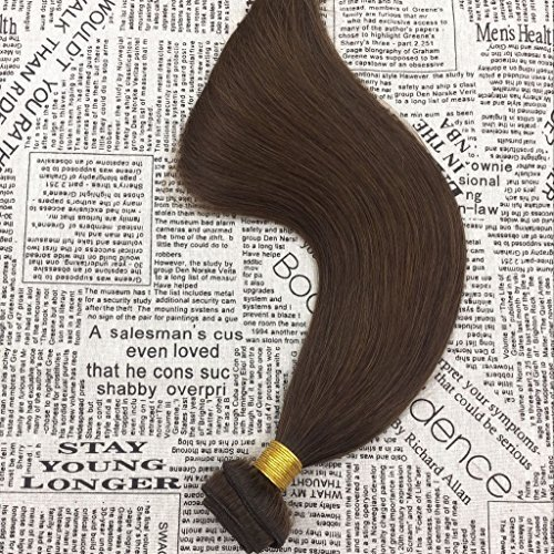 Moresoo 12inch Weave Hair Human Bundles Straight Short Weave Bundles Remy Brazilian Hair Sew in Weave Hair Extensions Chocolate Brown #4 100gram/bundle: ...