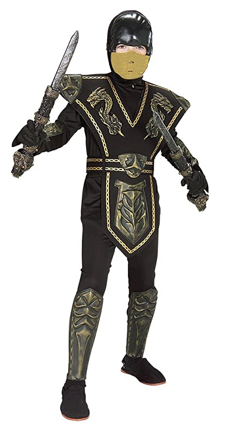 Skull Warrior Ninja Child Costume Gold - Large  sc 1 st  Amazon.com : skull ninja costume  - Germanpascual.Com