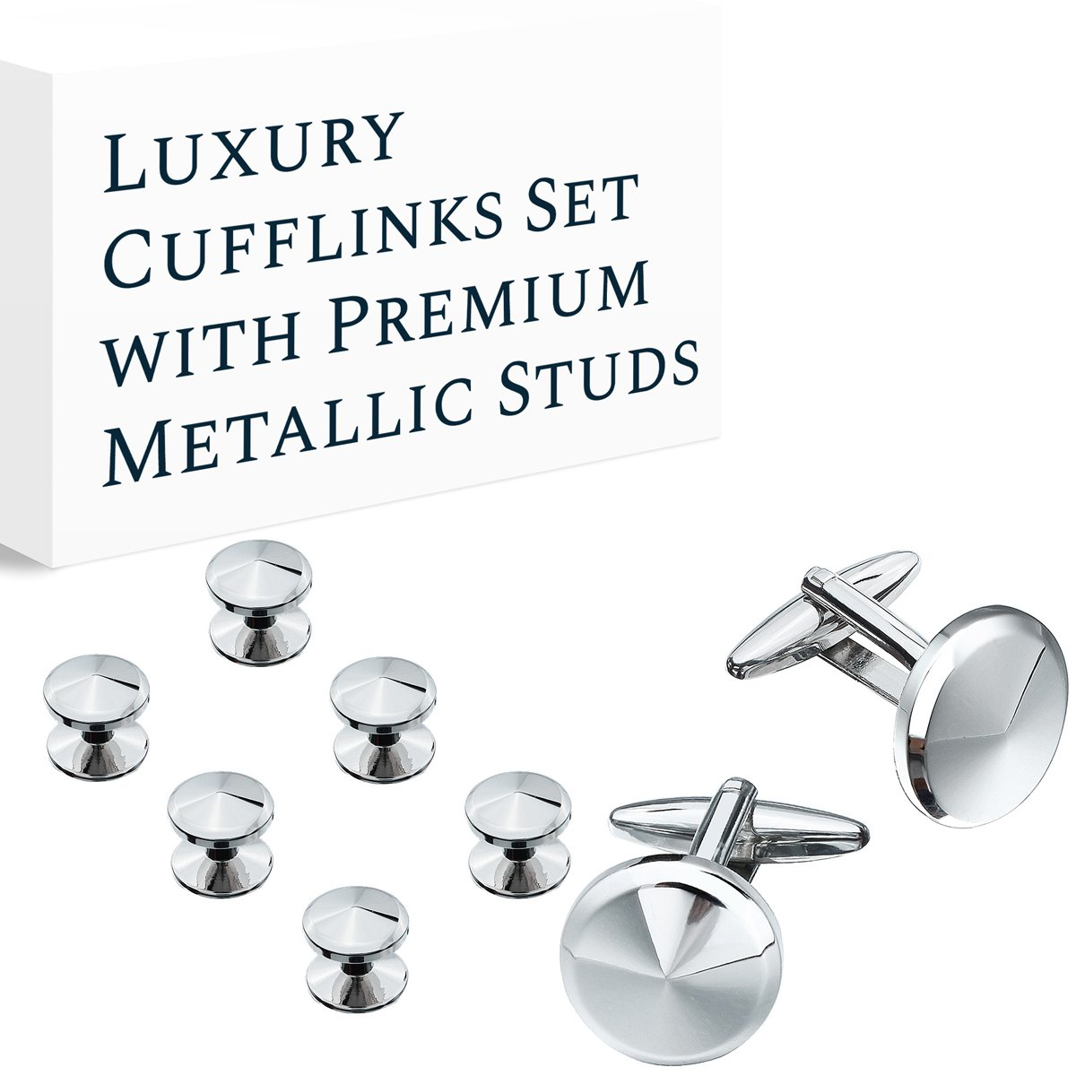HAWSON Cufflink and Studs Tuxedo Set Rose Gold Silver Black and Gold Color with Platinum Finish Two Cufflinks with Six Shirt Studs in Stylish Velvet Gift Bag 400372