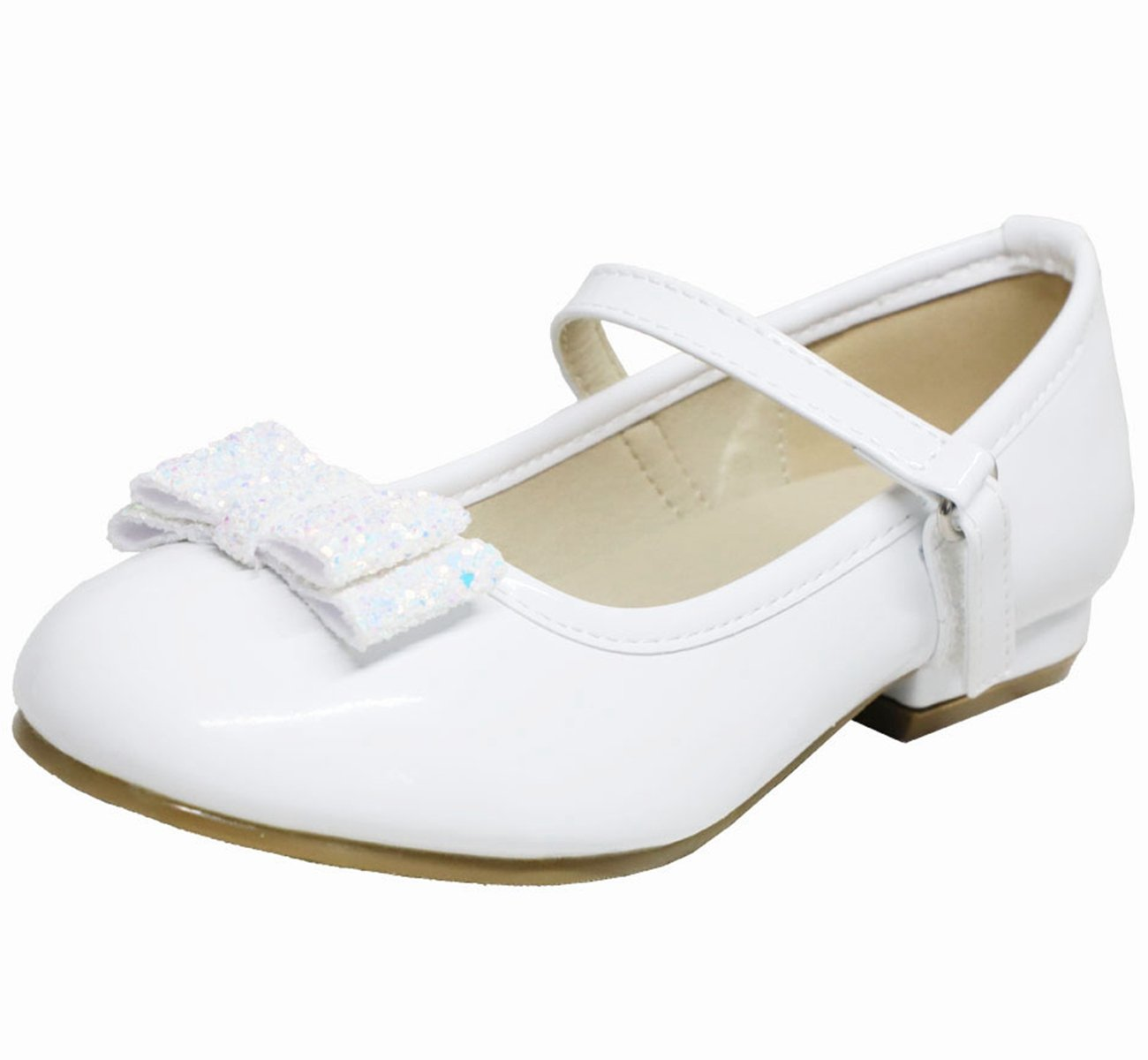 Girls Casual Flats Girls Flats Shoes Girls Dress Shoes Ballerina Ballet Low Heels Mary Jane Sandals With Glitter Bow For Wedding,Party,Event.(Toddler/Little/Big Kid)(3 M US Little Kid White)