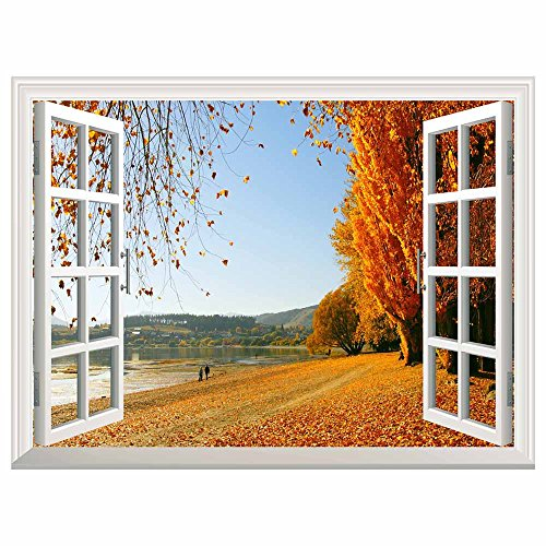 Autumn Golden Fallen Leaves Open Window Mural Wall Sticker