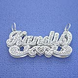 Sterling Silver Script Name Pendant Necklace Diamond Accent 3D Double Plates Nameplate