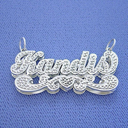 Sterling Silver Script Name Pendant Necklace Diamond Accent 3D Double Plates Nameplate by Soul Jewelry Inc